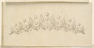 Horizontal rectangle. Design for a small crown or tiara. Two branches are converging at the center, each consisting of alternatively two oak leaves and three round beads.