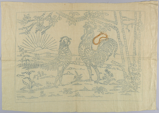 Printed pattern for Cut Fabric embroidery. Design is of two humans dressed as a rooster and a hen in a landscape.