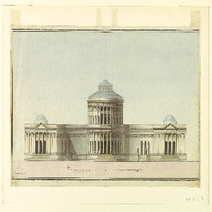 Front elevation of a two-story circular building with engaged columns and with an open loggia below, approached by a flight of stairs.  At either side, connected by wings, are domed, one-story pavilions with colonnades. Indication of scale in pen and black ink in Piedi Inglesi