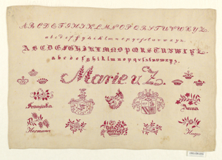 Alphabets, coats-of-arms, and names in red on white.