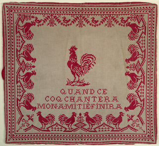 A rooster in the center of a square, bordered by roosters and swags, with the text: Quand ce coq chantera mon amitie finera (When the rooster crows my friendship will end)