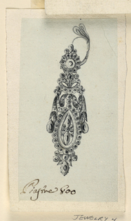 Jewelry design for an earring. Similar to designs for 1938-88-7587 and 1901-39-743; the latter appears to be a somewhat later simplification but transforming the ribbon of the drapery as it is here, into a piece of cloth.