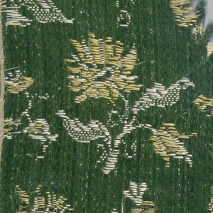 Green satin ground with weft that is alternately yellow and white silk.  Wefts floated out over face to form design of four different small-scale floral sprays arranged in horizontal rows.