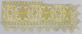 Fragment of a woven linen band showing design of octagons containing heraldic crosses. These are connected by smaller squares containing eight-pointed stars. Narrow border of small flower sprigs and scalloped bobbin lace. Embroidered in yellow silk with dark blue used for outlines.