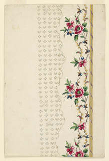A rising border is framed at right by two fold strips around which a ribbon is wound, at left, by the scalloped edge of the field. Two waved flower stems rise in the border. The field shows four dots and two leaves alternating in horizontal and vertical rows.