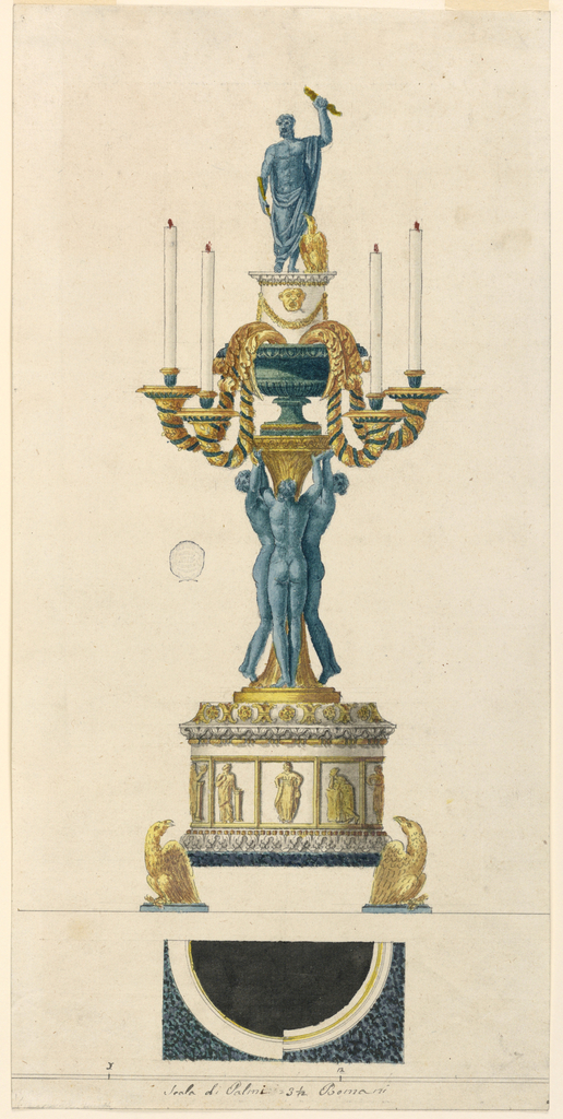 The oblong plinth of a half circular pedestal of marble is supported by two eagles. The pedestal is decorated above and below by elaborated moldings, and in the main field with oblong panels with frames tangent to each other, and with figures of the Muses inside. The shaft is surrounded by three girls supporting its entablature upon which a vase stands. From its inside hang downwards the four branches with burning candles. Above it rises a pedestal with a figure of Jupiter Tonans with the eagle standing beside him.