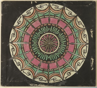 Magic lantern slide, optical toy. On black field, circular design. At center, sixteen rays in white outlined in black against pink background; surrounding circle white; next black, pierced with eight green conventional chrysanthemums; next circle toward circumference is narrow, orange; then a pink and a white, and final outer circle set with sixteen orange swags, with green field below and, outside, a white field set with serpents.