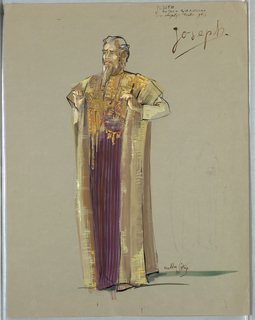 Vertical rectangle. Bearded man with hands at chest, wearing long tan and purple robe.
