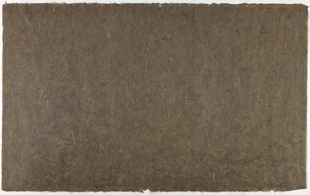 Decorated Paper, brown with colored fibres, ca. 1940