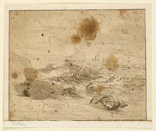 A ship tosses on a stormy, sublime sea. rocks in the foreground and middle distance. Another ship in the far distance.