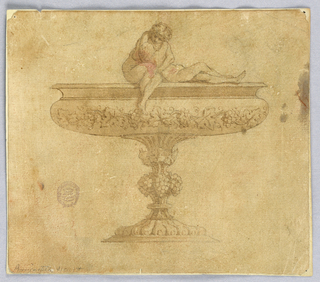 Design for a wide-lipped bowl decorated with grape vines. At top, a sculptural pair of lovers.
