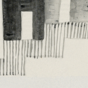 In gray and black, rectangular boxes in a jagged row on vertical lines.