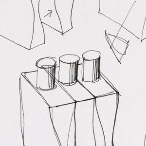 Five sketches showing the front elevation of a single bottle and how it fits together with two and then three bottles in the set (shower gel, deodorant spray, body lotion), some without dispensers.