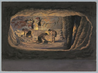 Drawing, Diorama, Man's Struggle f, 1964