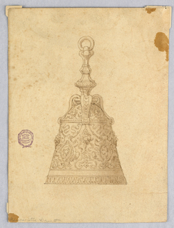 A hand bell with baluster form faceted handle. Ornamented body with strapwork and portrait medallions.