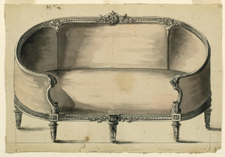 Sofa turned and fluted legs and wrap-around sides and wood trim is seen from the front. The trimis detailed with fluted acanthus volutes and in the center of the back trim there is a bud separated by two acanthus leaves from which hangs a swag.