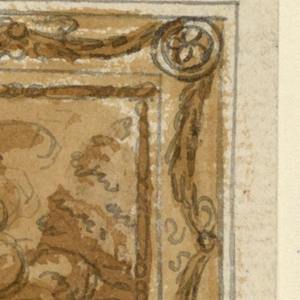 Cupid, coming to Venus who is seated upon clouds, puts his left arm around her shoulders and points toward the earth as she does. Framed by a moulding with festoons hanging from bow knots and rosettes.