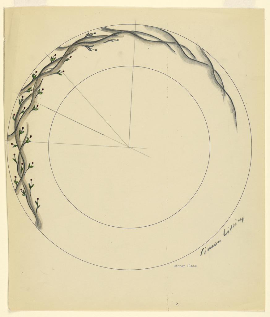 Design for a plate decorated with a long vine or branch with small flowers.