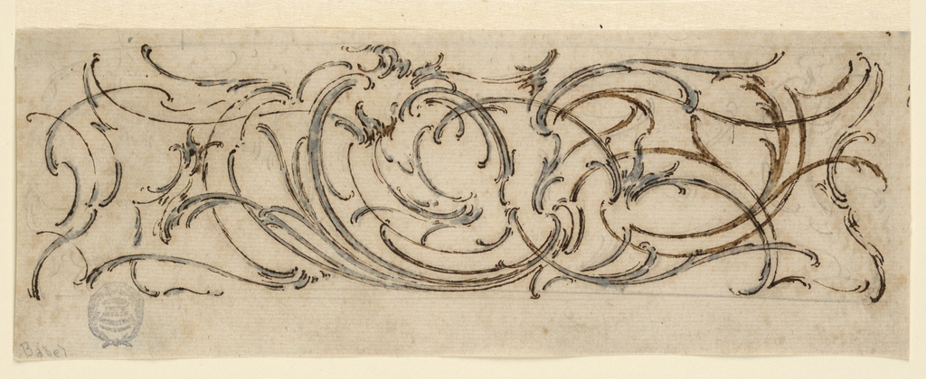 An unfinished, asymmetrical composition, with leaf motifs and an obliquely shown escutcheon flanked by scrolls.