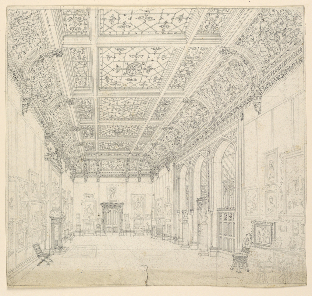 Drawing, Gothic Country House: Picture Gallery