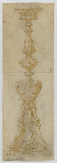 Design for a candelabrum. At base dolphins, masks and two genii holding a swag. Above this, a seated robed figure flanked by nudes standing on ram heads. At center, a baluster form with three female nudes with extended backs. Above, an oval with scrolling decoration and three protruding busts. At top, a ring of make busts with necklaces.