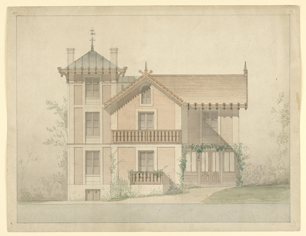 Drawing, Architectural project for the house of P.J. Hetzel