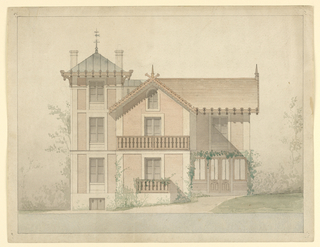 Architectural plan for Jules Hetzel House, 2 rue Emmanuel-Giraud [formely, 4 rue des charrons, at Bellvue], Sèvres (Hauts-de Deine), France. Proposed alteration, elevation of main facade.