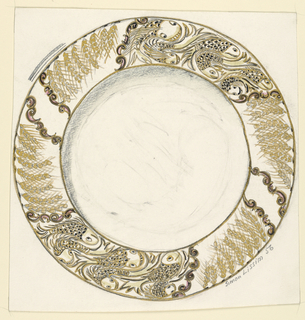 Design for a plate with border of fish and wheat husks.