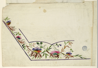 Design for the left bottom corner of the embroidery of a man's waistcoat, unfinished. Traced design on the pocket. Flower boughs and lacy leaves.
