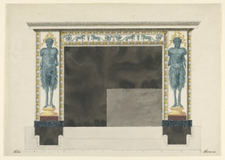 Horizontal rectangle. Design for a chimneypiece intended to be executed in marble and bronze.  Satyrs without arms are standing upon bases in front of the lateral pillars of the chimney.  The chimney's frieze is decorated with lions with rinceaux as tails.  Below are the plan and the scale of the chimney.