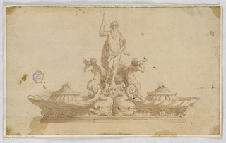 Design for an inkstand. At center, Poseidon with trident. Two mermen blowing conch shells. Two shells with pots, one on either side.