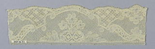 """Fragment of Mechlin lace with scrolling bands and rococo curves set off areas in which appear conventionalized floral sprays. Variety of """"fond de neige"""" ground. Scalloped edge."""
