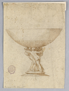A smooth hemispherical bowl supported by a nude figural group.