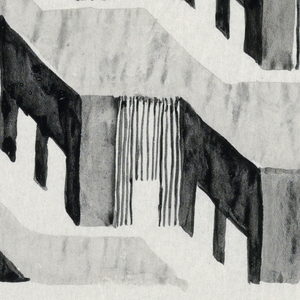 In gray and black, houses in a row in multiple stories, in zigzag pattern.