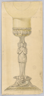 Design for a chalice. Upon a low base are the fore parts of the symbols of the Evangelists. The eagle, lion and bull can be seen. Each has four wings; the upper wings support the cup. This is decorated in its lower part with a laurel wreath around which a branch is wound, from which hangs a vine leaf.