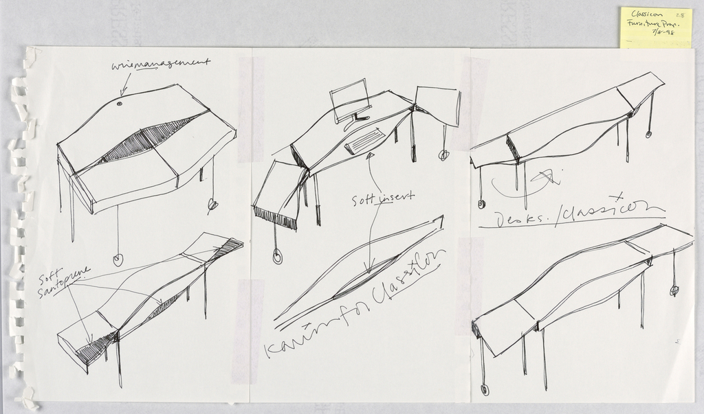 """Three designs for different desk arrangements with fold-out side extensions, a pull-out keyboard shelf, and a hose at the back for computer wires; and three detail sketches of """"bulge"""" shaped desk top."""
