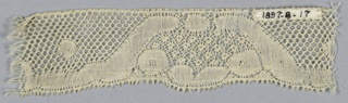 "Fragment of Valenciennes lace has scrolls enclosing oval areas with a ""fond de neige"" or snowy ground. Round mesh."