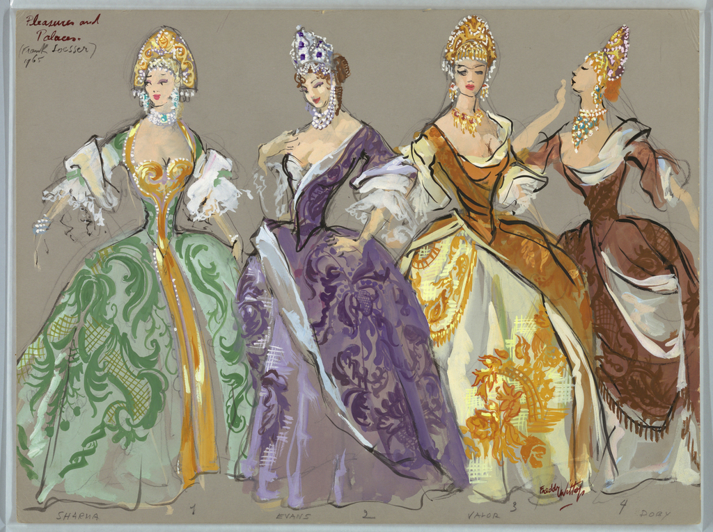 Horizontal rectangle. Four women in elaborate, full gowns with necklaces and beaded headpieces.