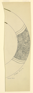 Design for the border of a plate with allover decoration of flowers, stars in one section.
