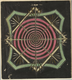 Magic lantern slide, optical toy. On black field, swirling pink spiral at center, surrounded by white diamond interweaving with curving green shape bordered with pierced circles. Overlaid on top of spiral, asterisk star formation with rays radiating from each end.
