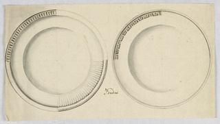 Horizontal rectangle. Designs for two circular plates with several decorative suggestions. Plate at left: suggested are decorations of the rim at lower left and of intertwined ovoids below a cord motif at upper left. At lower right, shell and bead motifs. At upper right, no decoration is suggested. Plate at right: a flat band in Greek key style decorates the rim at upper left. At upper right, a circle of small beads. Lower half of plate decorated with cord motif. Remnants of a framing line at the left edge.