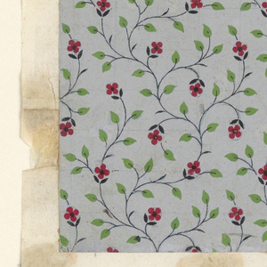 Design for textile or wallpaper with flowering vine pattern.