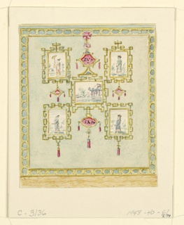 Vertical rectangle. Design for the Royal Pavilion, Brighton. A panel of a wall showing five paintings of Chinese scenes and figures, enclosed in lattice-work frames, against a neutral blue background. The entire panel is contained within a border of geometric design.  Original album associated with this collection still exists.  See 1948-40-1 accessory