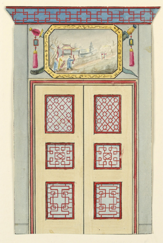 Vertical rectangle. Design for the Royal Pavilion, Brighton. Design for a section of a wall, with double-doors bearing painted panels of lattice-work design. The over door consists of a painted scene with Chinese figures and landscape, enclosed in a frame and set against a representation of crossed swords. Cornice with a painted border of lattice-work design.  Original album associated with this collection still exists.  See 1948-40-1 accessory