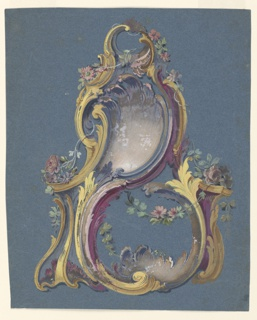 Rocaille painted ornament, primarily gold and violet with roses. Other colors used in the ornament are pale pink and blue, sage, brown, and fuschia. The object has large s-curves and c-curves with floral sprays flowing down, up, and horizontally over the piece.
