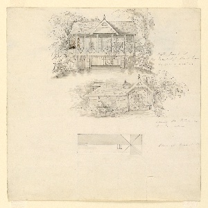 Vertical rectangle. A view of the boat house from the water; a view of the entrance by land, and a roof plan. Verso: a view of the scullery from the water and a roof plan of the scullery.