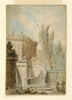 a: In the type of horizontal rectangle. D'Allemagne, Les Cartes à jouer, Vol. I, pl. after p. 112. Printed along the upper part of the right edge: ALEXANDRE. Verso: b: a curved staircase leads up to a terrace in the middle plane. A part of a castle is shown in the left rear, trees upon a lower leveled part of the terrace in the right middle plane and rear. A fountain stands in the left foreground; the water pours from a mask in the upper part of a high round pedestal, supporting a figure of a seated woman.