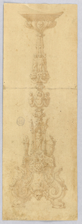 Design for a candelabra. Three masks at top; at center, three putto standing on masks with swags. At base, niche with Madonna and child, flanked by religious figures. Scrolling dolphin foot with captives.