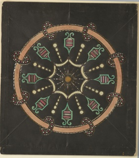 Magic lantern slide, optical toy. On black field, circumference a pink band with eight elliptical rings. Within, eight cartouches alternating with eight chains of circles and and ellipses. At center, figure composed of eight incurving arcs, enclosing rayed disk.