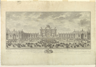 "le Blanc 9 - a temple shown through a triumphal arch with curved wings extending to either side and partly enclosing a court with large pools at right and left and crowds of people - below: the caption - Bottom: ""Composee et executee par Mrs. Slodtz""  ""Desinee par C.N.Cochin le Fils.""  ""Grave a l'eau forte par M. Marvie.  Termine au burin par J. Ourvrier""/"
